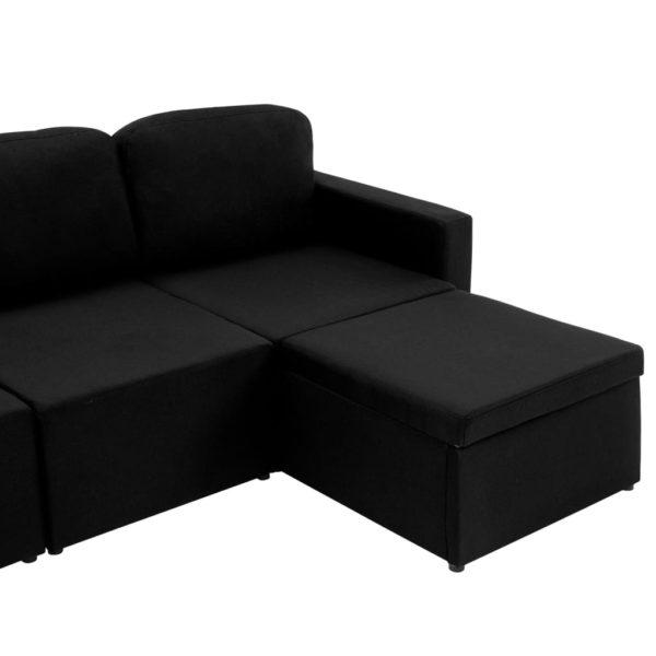 Modulares 3-Sitzer-Schlafsofa Schwarz Stoff