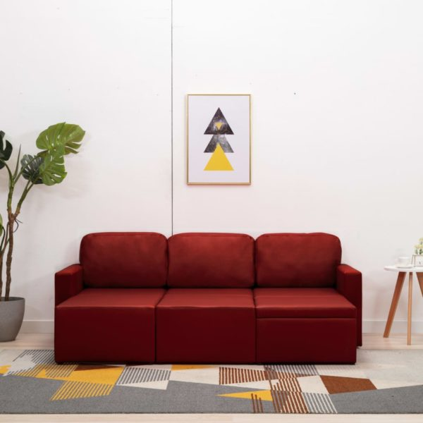 Modulares 3-Sitzer Schlafsofa Weinrot Kunstleder