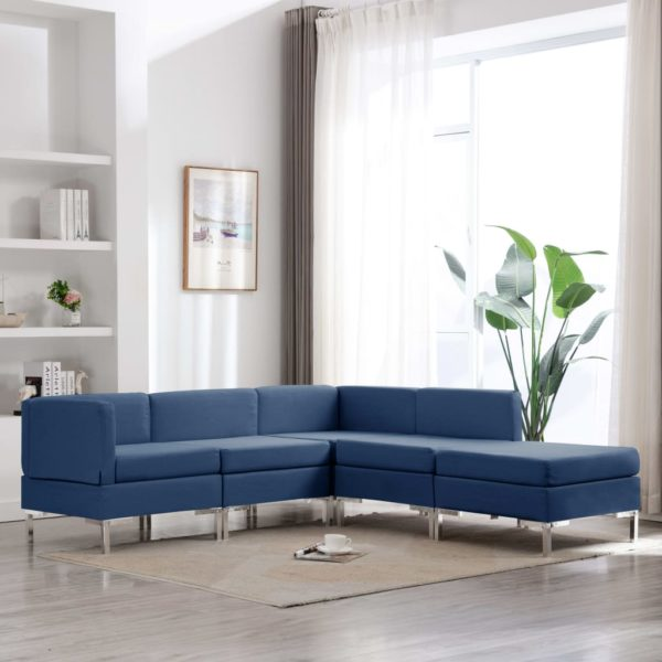 5-tlg. Sofagarnitur Stoff Blau