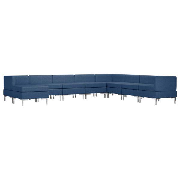 9-tlg. Sofagarnitur Stoff Blau