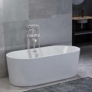 Freistehende Badewanne und Wasserhahn 204 L 99,5 cm Silbern