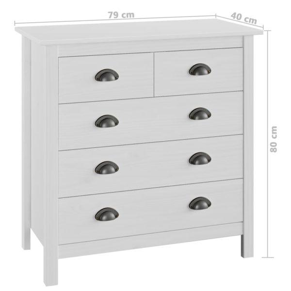 Sideboard Hill Range Weiß 79×40×80 cm Massivholz Kiefer