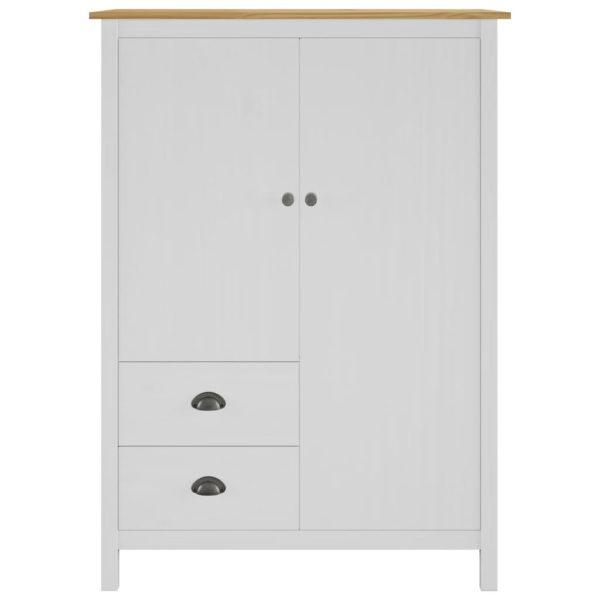 Kleiderschrank mit 2 Türen Hill Range Weiß 99x45x137 cm Kiefer