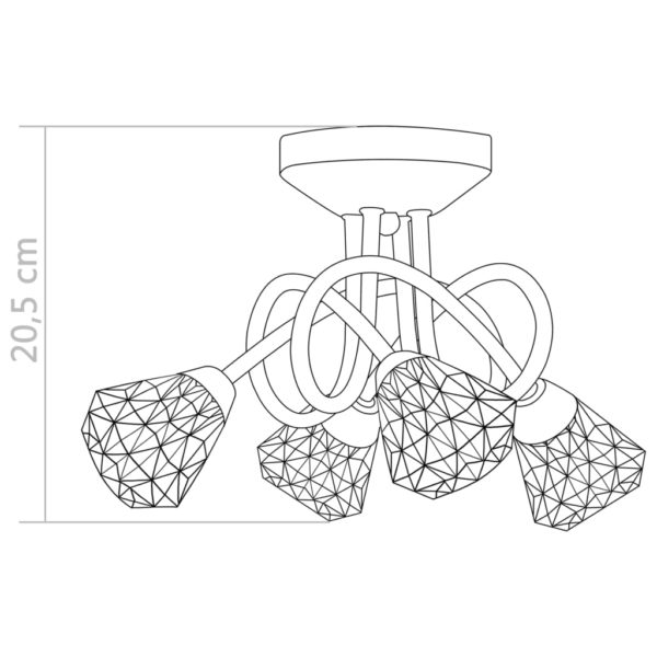 Deckenleuchte mit Glas-Lampenschirmen für 4 G9 Leuchtmittel
