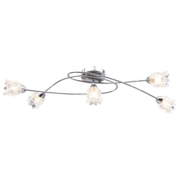 Deckenleuchte mit Glas-Lampenschirmen für 5 G9-Leuchtmittel