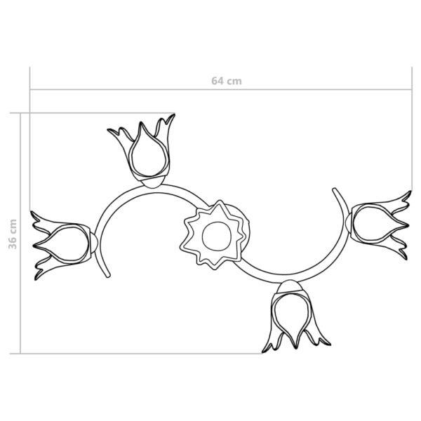 Deckenleuchte mit Glasschirmen für 5 E14 Glühlampen