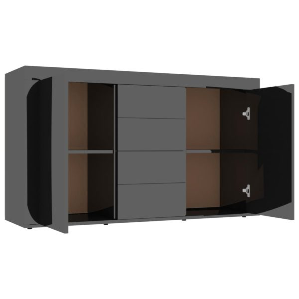 Sideboard Hochglanz-Schwarz 120×36×69 cm Spanplatte
