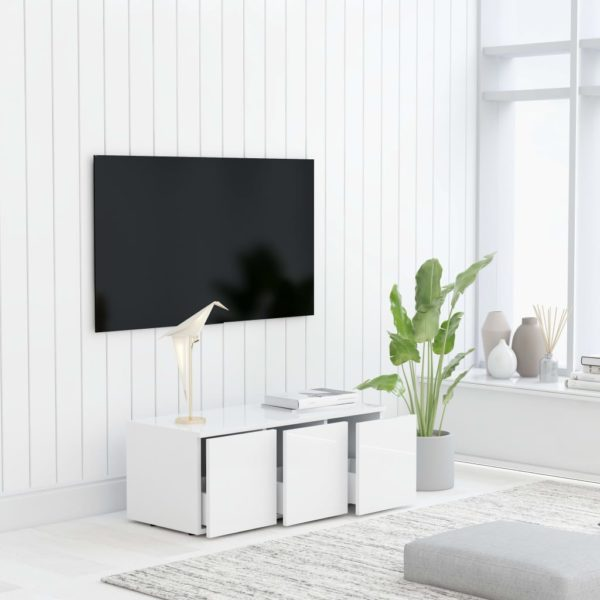 TV-Schrank Hochglanz-Weiß 80x34x30 cm Spanplatte