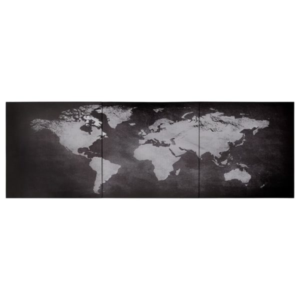 Leinwandbild-Set Weltkarte Schwarz 120 x 40 cm