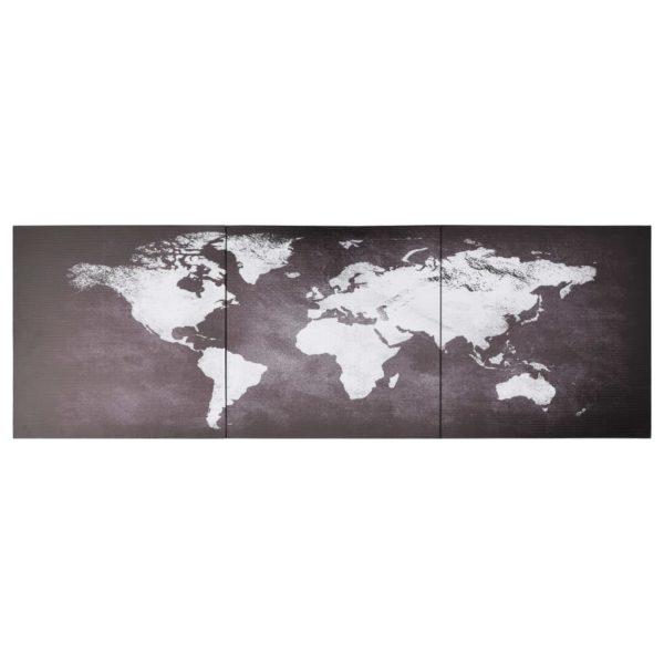 Leinwandbild-Set Weltkarte Grau 120 x 40 cm