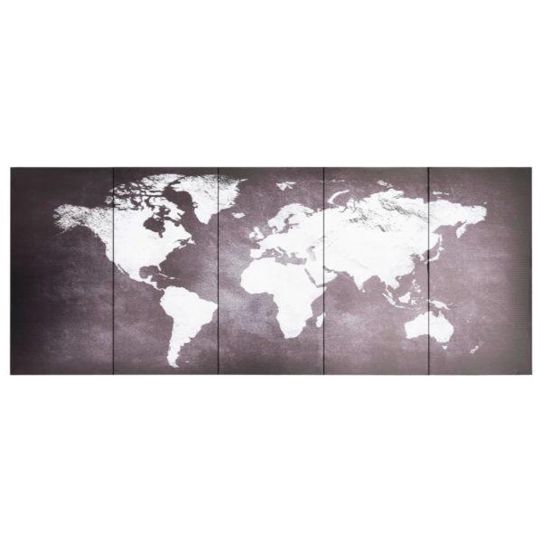 Leinwandbild-Set Weltkarte Grau 200 x 80 cm