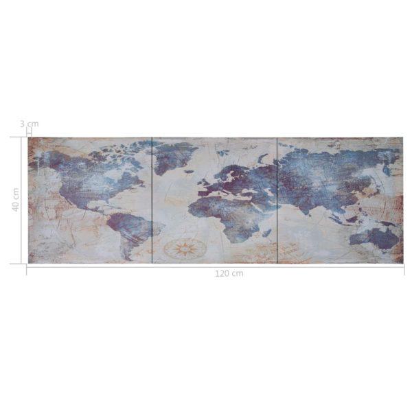 Leinwandbild-Set Weltkarte Blau 120 x 40 cm
