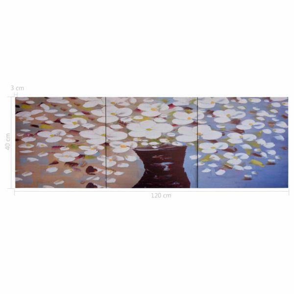 Leinwandbild-Set Blumen in Vase Mehrfarbig 120×40 cm