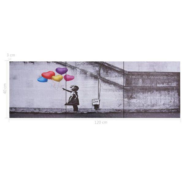 Leinwandbild-Set Ballons und Kind Mehrfarbig 120×40 cm