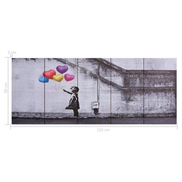Leinwandbild-Set Ballons und Kind Mehrfarbig 150×60 cm