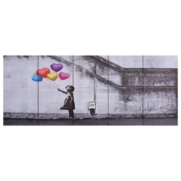 Leinwandbild-Set Ballons und Kind Mehrfarbig 200×80 cm