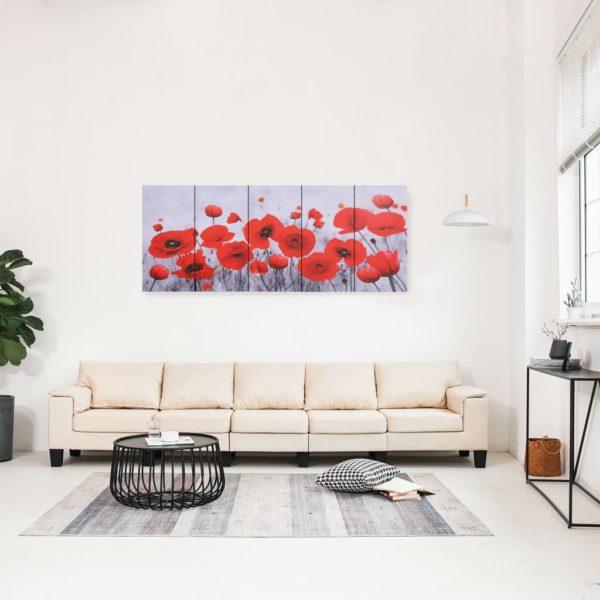 Leinwandbild-Set Blumen Mehrfarbig 150×60 cm