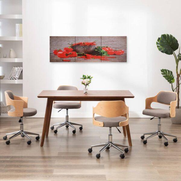 Leinwandbild-Set Paprika Mehrfarbig 120×40 cm