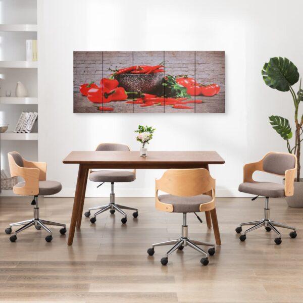 Leinwandbild-Set Paprika Mehrfarbig 200×80 cm