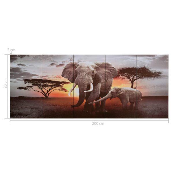 Leinwandbild-Set Elefant Mehrfarbig 200×80 cm