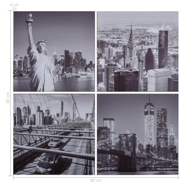 Leinwandbild-Set New York Mehrfarbig 80×80 cm