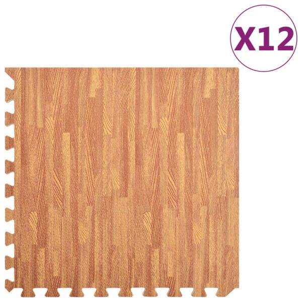 Bodenmatten 12 Stk. Holzoptik 4,32 m² EVA-Schaum