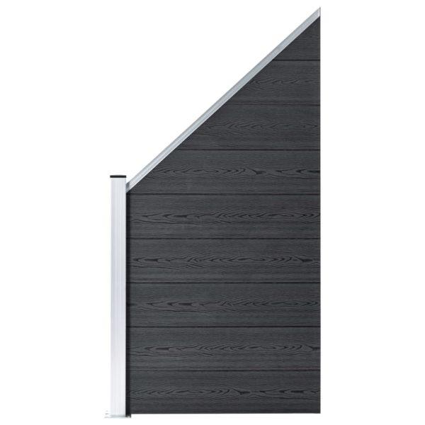 WPC Zaun-Set 1 Quadrat + 1 Schräge 273×186 cm Grau