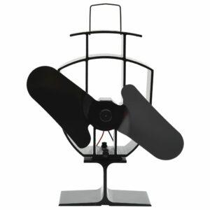 Wärmebetriebener Kaminventilator 2 Blätter Schwarz