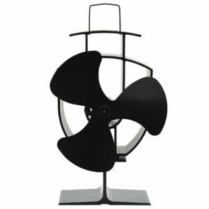 Wärmebetriebener Kaminventilator 3 Blätter Schwarz