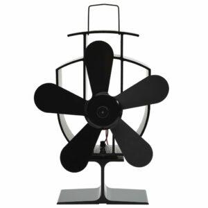 Wärmebetriebener Kaminventilator 5 Blätter Schwarz