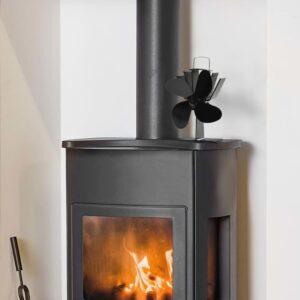 Wärmebetriebener Kaminventilator 4 Blätter Schwarz