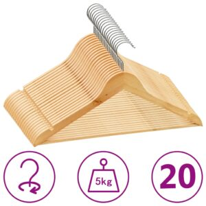 20 Stk. Kleiderbügel-Set Rutschfest Hartholz