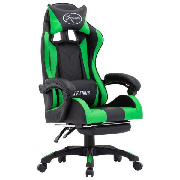 Gaming-Stuhl mit Fußstütze Grün und Schwarz Kunstleder