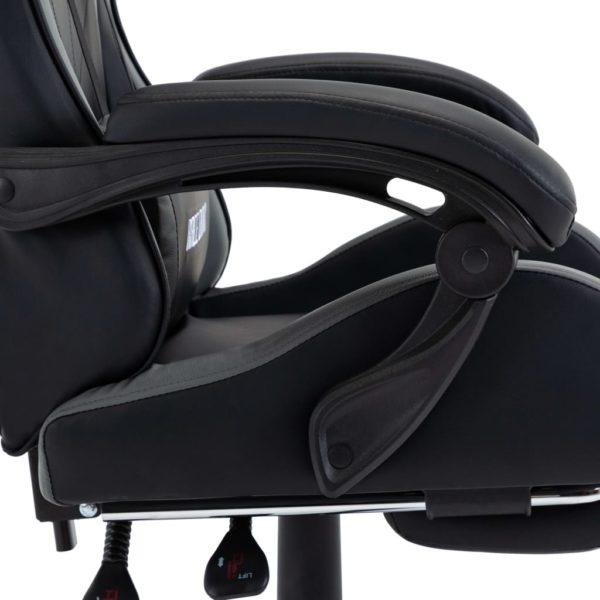 Gaming-Stuhl mit Fußstütze Grau und Schwarz Kunstleder