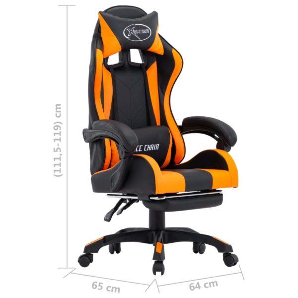Gaming-Stuhl mit Fußstütze Orange und Schwarz Kunstleder