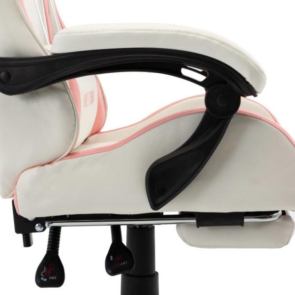 Gaming-Stuhl mit Fußstütze Rosa und Weiß Kunstleder