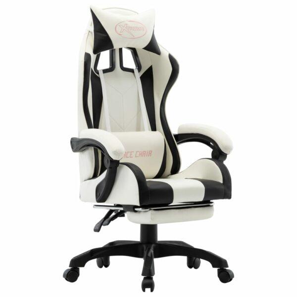 Gaming-Stuhl mit Fußstütze Schwarz und Weiß Kunstleder