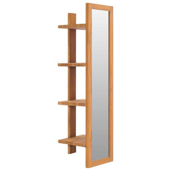 Wandspiegel mit Regalen 30×30×120 cm Teak Massivholz