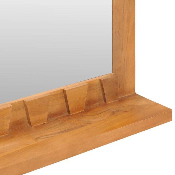 Wandspiegel mit Regal 100×12×60 cm Teak Massivholz