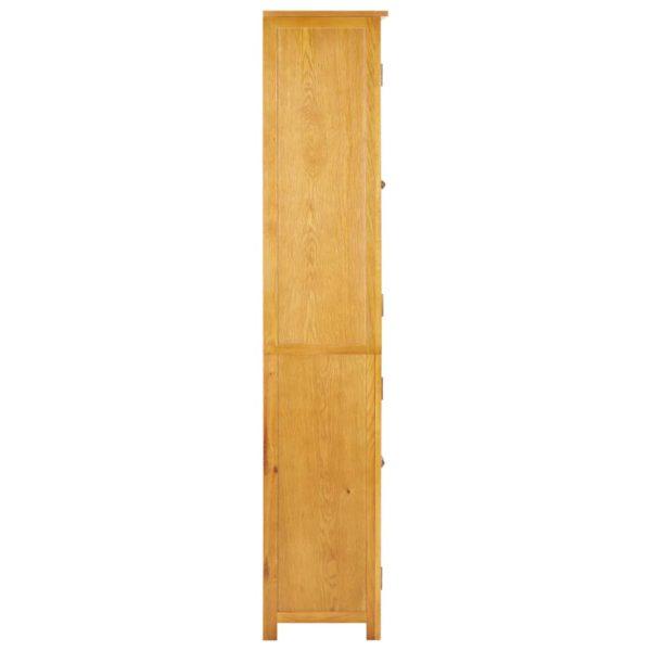 Bücherschrank mit 4 Türen 90x35x200 cm Eiche Massivholz & Glas