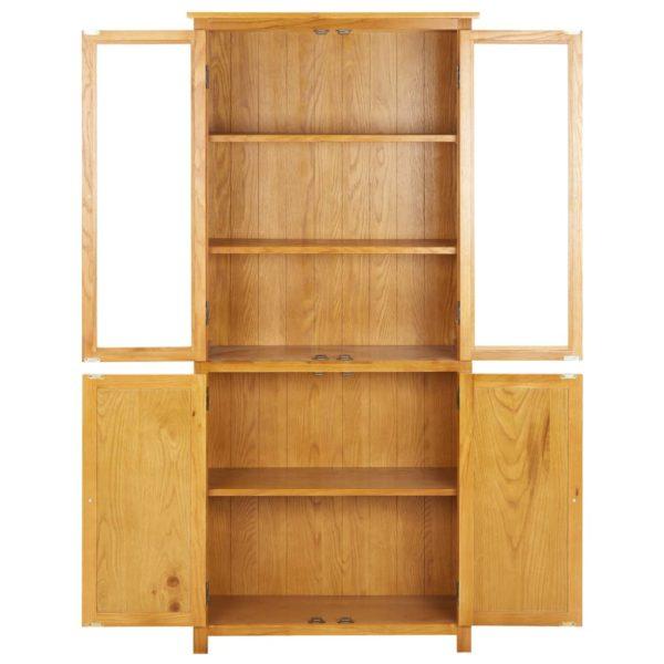 Bücherschrank mit 4 Türen 80x35x180 cm Eiche Massivholz & Glas
