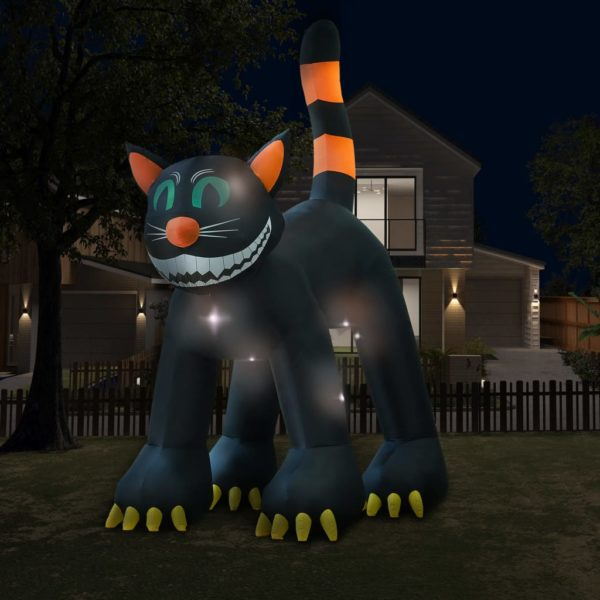 Halloween Aufblasbare Schwarze Katze mit LED XXL 6 m