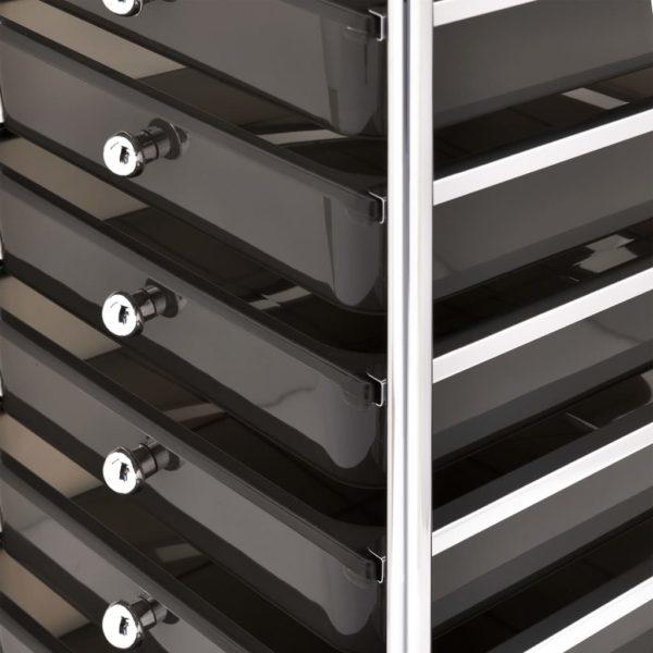 Schubladenwagen mit 10 Schubladen Schwarz Kunststoff