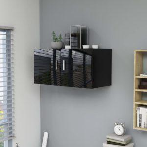 Wandschrank Hochglanz-Schwarz 80 x 39 x 40 cm Spanplatte