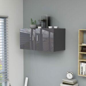 Wandschrank Hochglanz-Grau 80 x 39 x 40 cm Spanplatte