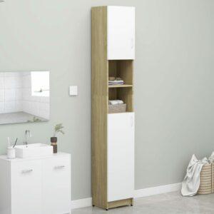 Badezimmerschrank Weiß und Sonoma-Eiche 32×25,5×190 cm Spanplatte