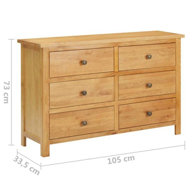 Schubladenschrank 105 x 33,5 x 73 cm Massivholz Eiche