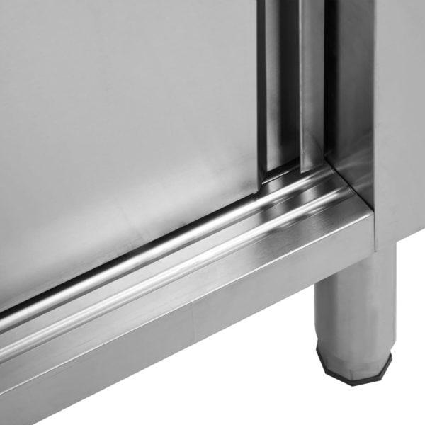 Arbeitsschränke mit Schiebetüren 2 Stk. 240×50×95 cm Edelstahl
