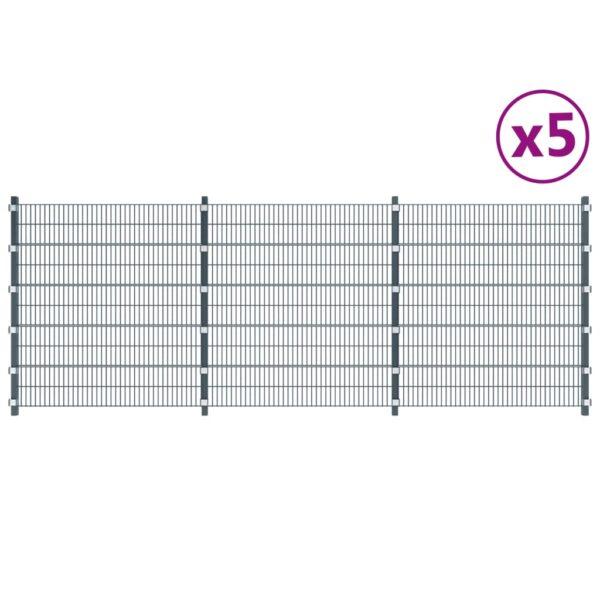 Zaunfelder 5 Stk. Eisen 6 x 2 m 30 m (Gesamtlänge) Anthrazit
