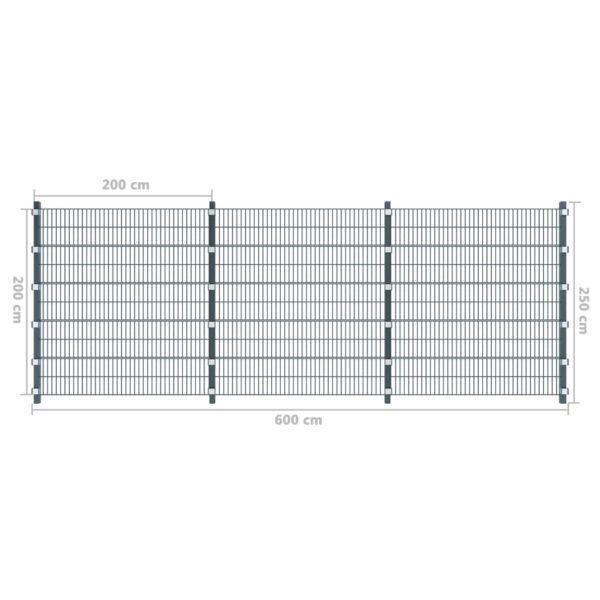Zaunfelder 6 Stk. Eisen 6 x 2 m 36 m (Gesamtlänge) Anthrazit